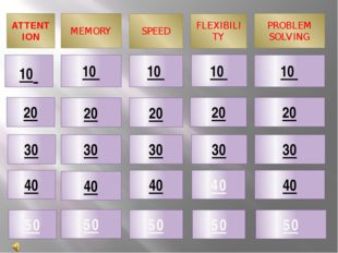 ATTENTION MEMORY SPEED PROBLEM SOLVING 10 20 40 30 FLEXIBILITY 50 10 10 10 10