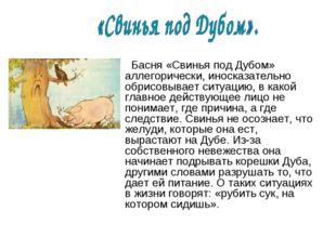 Басня «Свинья под Дубом» аллегорически, иносказательно обрисовывает ситуацию