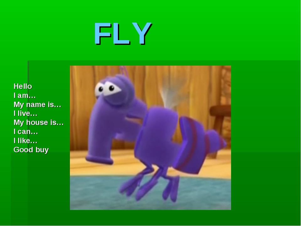 FLY Hello I am… My name is… I live… My house is… I can… I like… Good buy