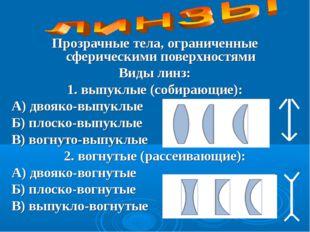 Прозрачные тела, ограниченные сферическими поверхностями Виды линз: 1. выпукл