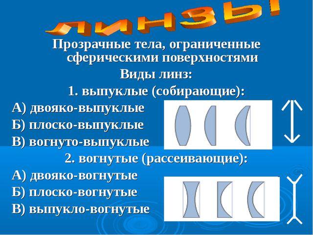 Прозрачные тела, ограниченные сферическими поверхностями Виды линз: 1. выпукл...