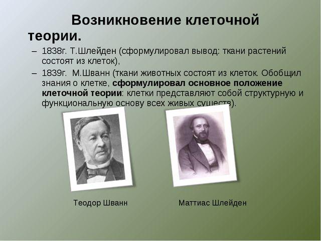 Возникновение клеточной теории. 1838г. Т.Шлейден (сформулировал вывод: ткани...