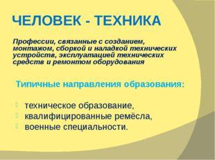 ЧЕЛОВЕК - ТЕХНИКА Профессии, связанные с созданием, монтажом, сборкой и налад
