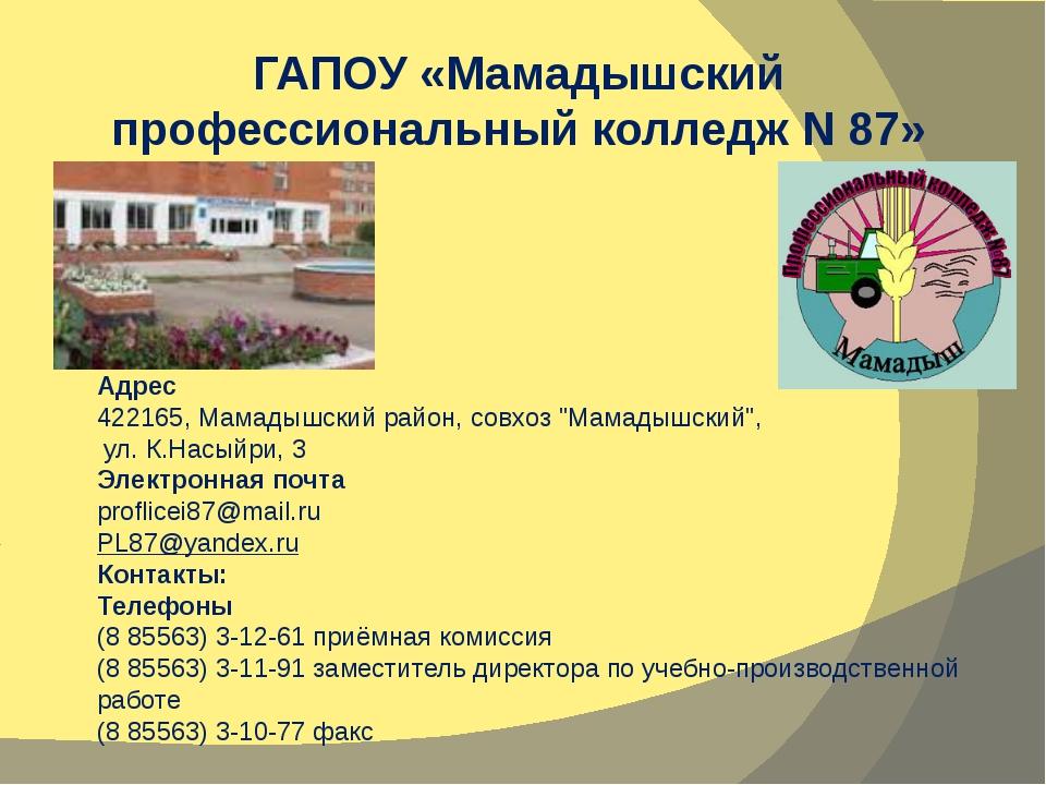 "Адрес 422165, Мамадышский район, совхоз ""Мамадышский"", ул. К.Насыйри, 3 Элек..."
