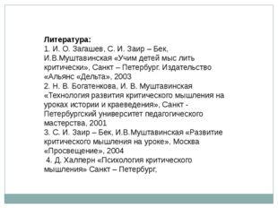 Литература: 1. И. О. Загашев, С. И. Заир – Бек, И.В.Муштавинская «Учим детей