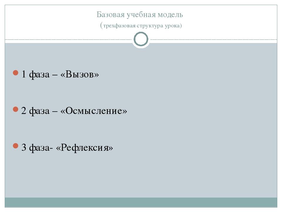 Базовая учебная модель (трехфазовая структура урока) 1 фаза – «Вызов» 2 фаза...