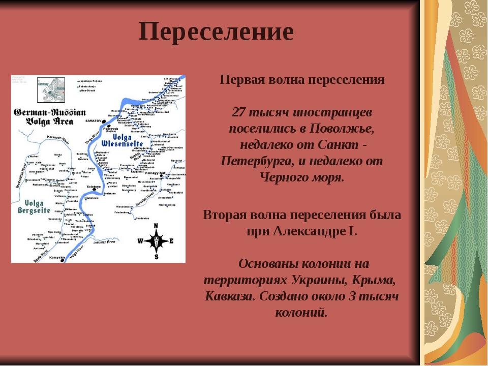 Переселение Первая волна переселения 27 тысяч иностранцев поселились в Поволж...