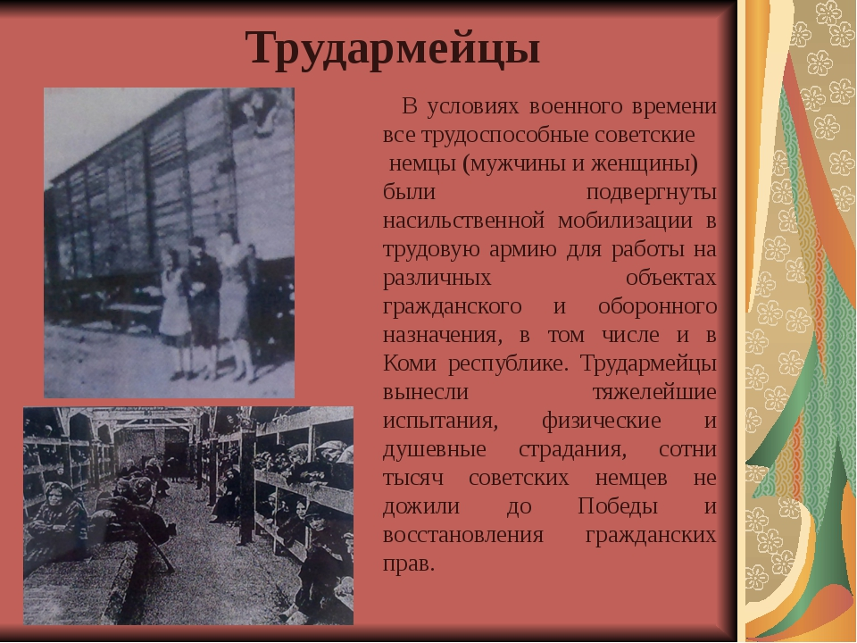 В условиях военного времени все трудоспособные советские немцы (мужчины и же...