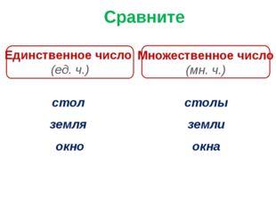 Сравните Единственное число (ед. ч.) Множественное число (мн. ч.) стол земля