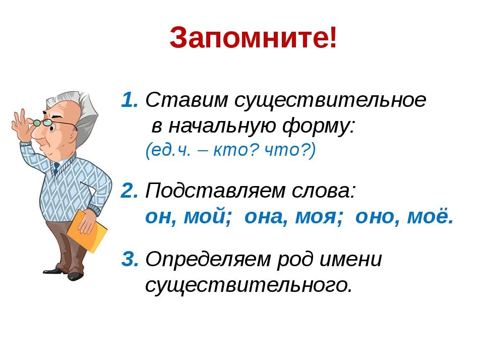 Запомните! 1. Ставим существительное в начальную форму: (ед.ч. – кто? что?) 2...