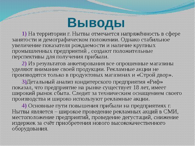 Выводы 1) На территории г. Нытвы отмечается напряжённость в сфере занятости...