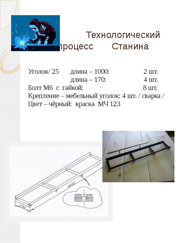 Технологический процесс Станина Уголок/ 25 длина – 1000: 2 шт. длина – 170:...