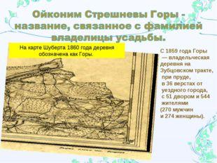На карте Шуберта 1860 года деревня обозначена как Горы. С 1859 года Горы — вл