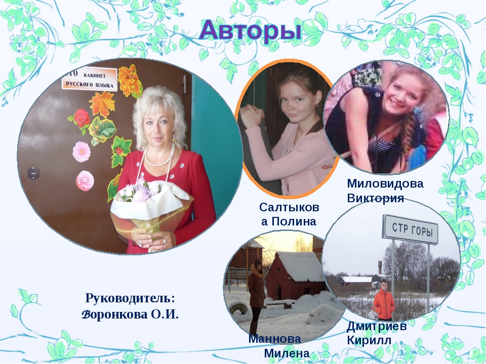 Маннова Милена Салтыкова Полина Руководитель: Воронкова О.И. Дмитриев Кирилл...