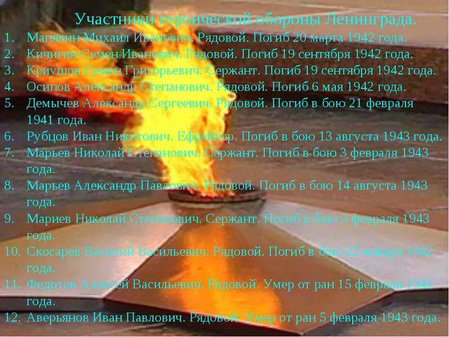 Манякин Михаил Иванович. Рядовой. Погиб 20 марта 1942 года. Кичигин Семен Ива...