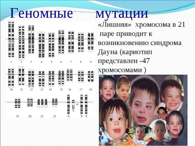 Геномные мутации «Лишняя» хромосома в 21 паре приводит к возникновению синдр...