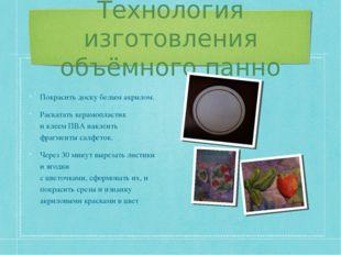 Технология изготовления объёмного панно Покрасить доску белым акрилом. Раскат