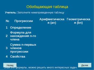 Назад Далее Обобщающая таблица Учитель: Заполните нижеприведенную таблицу Зна