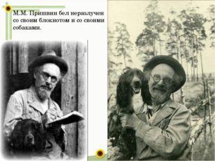 М.М. Пришвин бел неразлучен со своим блокнотом и со своими собаками.