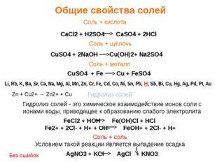 Соль + кислота Общие свойства солей Соль + щёлочь Соль + металл Гидролиз соле