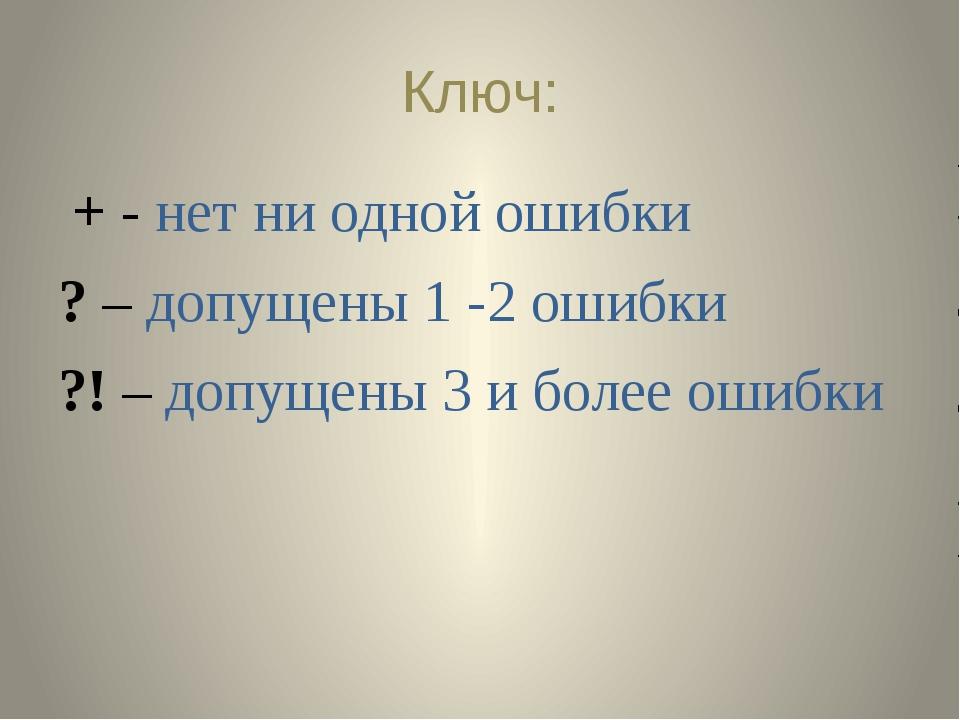 Ключ: + - нет ни одной ошибки ? – допущены 1 -2 ошибки ?! – допущены 3 и боле...