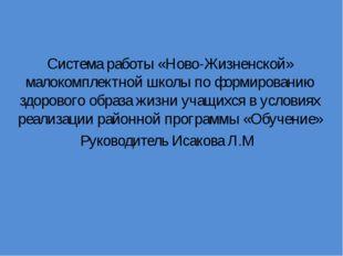 Система работы «Ново-Жизненской» малокомплектной школы по формированию здоро