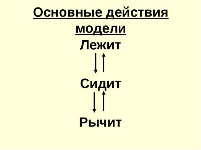 Основные действия модели Лежит Сидит Рычит