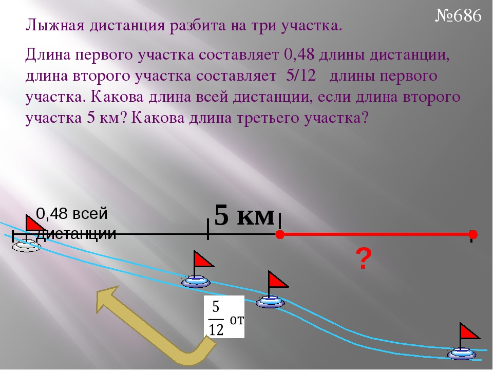 Лыжная дистанция разбита на три участка. Длина первого участка составляет 0,4...
