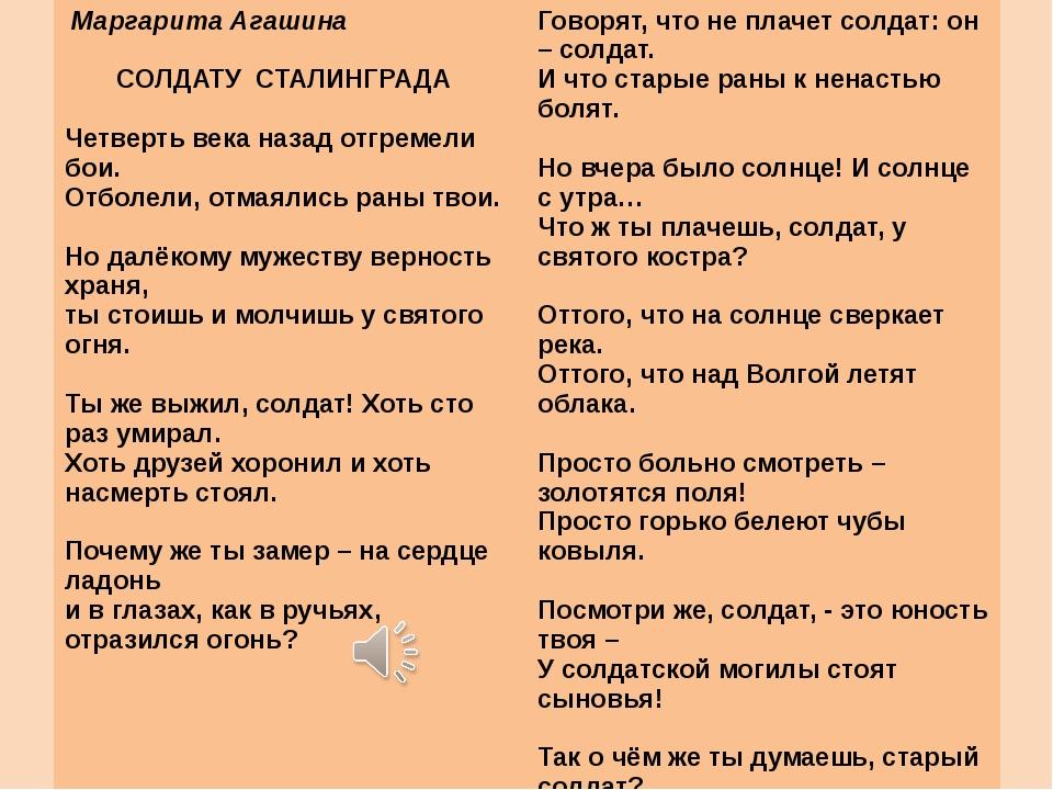 Маргарита Агашина  СОЛДАТУ СТАЛИНГРАДА  Четверть века назад отгремели бои....