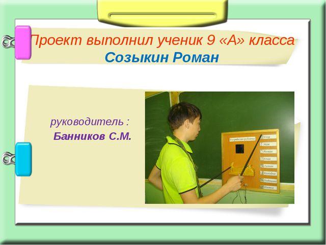 руководитель : Банников С.М. Проект выполнил ученик 9 «А» класса Созыкин Роман