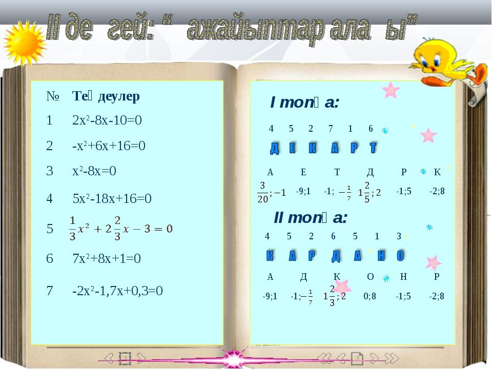 І топқа: ІІ топқа: №Теңдеулер 12x2-8x-10=0 2-x2+6x+16=0 3x2-8x=0 45x2-1...