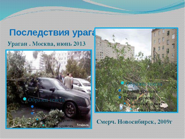 Последствия ураганов и смерчей Ураган . Москва, июнь 2013 Смерч. Новосибирск,...