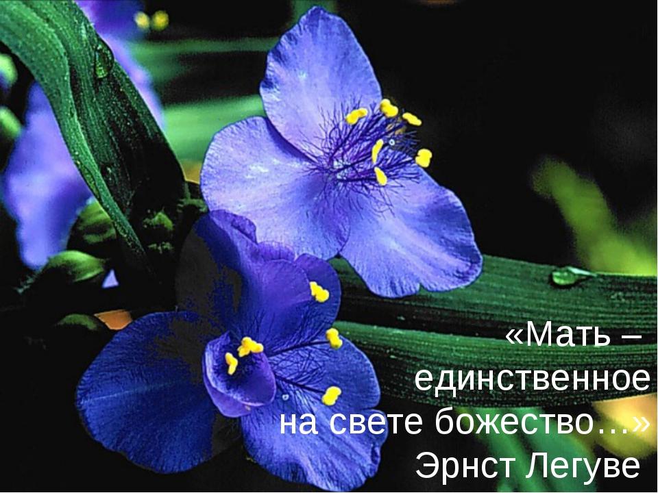 «Мать – единственное на свете божество…» Эрнст Легуве