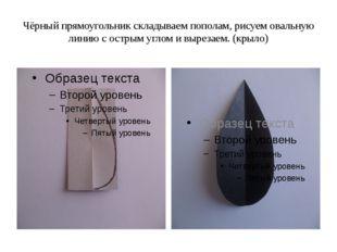 Чёрный прямоугольник складываем пополам, рисуем овальную линию с острым углом