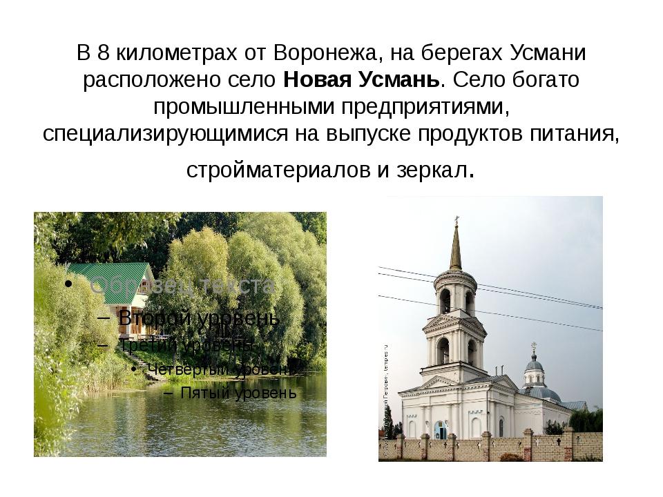 В 8 километрах от Воронежа, на берегах Усмани расположено селоНовая Усмань....