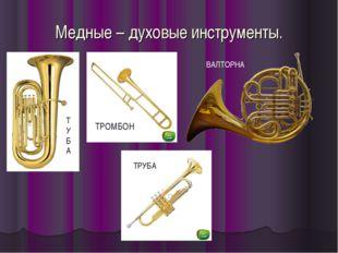 Медные – духовые инструменты. ТРОМБОН Т У Б А ВАЛТОРНА ТРУБА