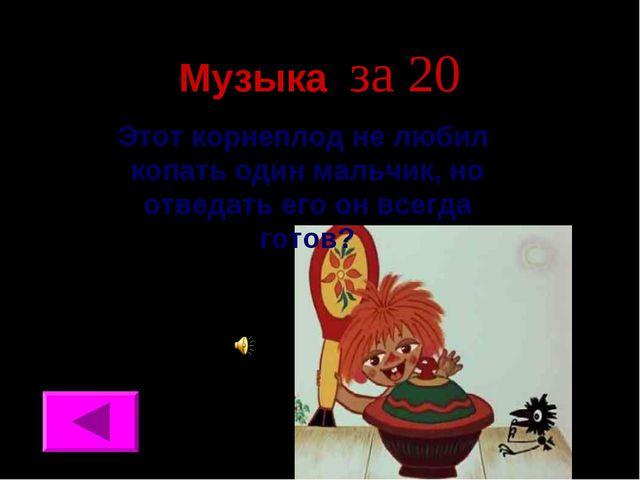 Музыка за 20 Этот корнеплод не любил копать один мальчик, но отведать его он...