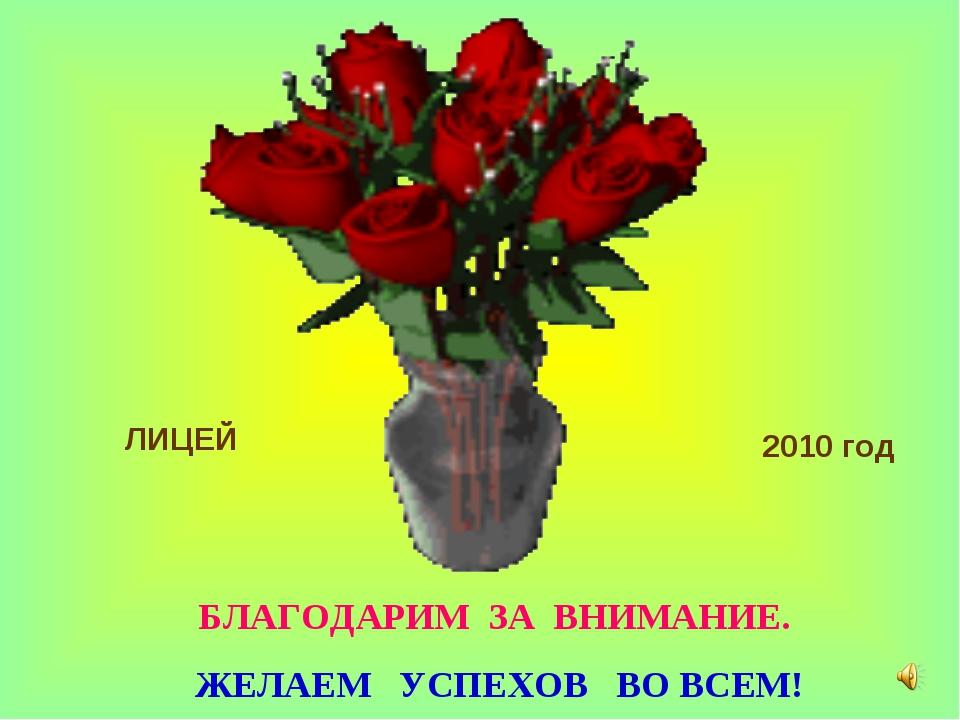 БЛАГОДАРИМ ЗА ВНИМАНИЕ. ЖЕЛАЕМ УСПЕХОВ ВО ВСЕМ! ЛИЦЕЙ 2010 год
