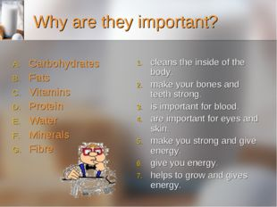 Why are they important? Carbohydrates Fats Vitamins Protein  Water Mi
