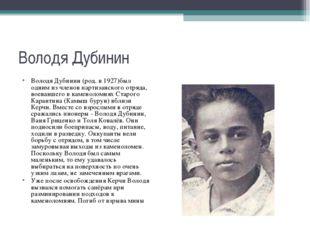 Володя Дубинин Володя Дубинин (род. в 1927)был одним из членовпартизанского