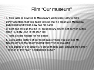 """Film """"Our museum"""" 1. This table is devoted to Marabaev's work since 1995 to"""