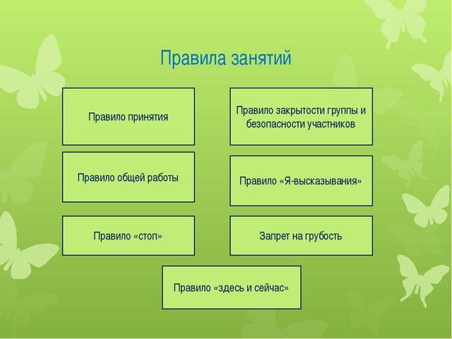 Правила занятий Правило принятия Правило общей работы Правило «стоп» Правило...