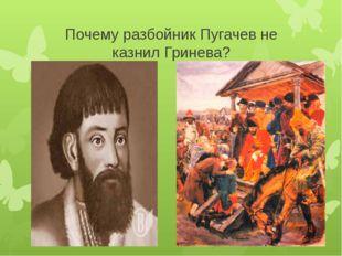 Почему разбойник Пугачев не казнил Гринева?
