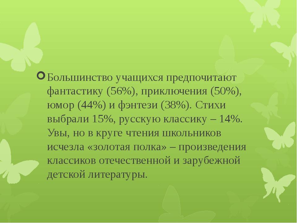 Большинство учащихся предпочитают фантастику (56%), приключения (50%), юмор...