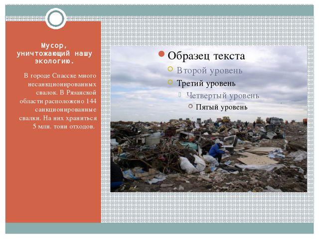 Мусор, уничтожающий нашу экологию. В городе Спасске много несанкционированных...