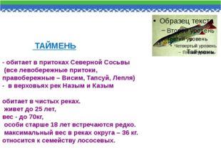 ТАЙМЕНЬ - обитает в притоках Северной Сосьвы (все левобережные притоки, прав
