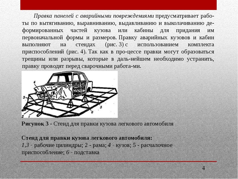 Правка панелей с аварийными повреждениямипредусматривает работы по вытягива...