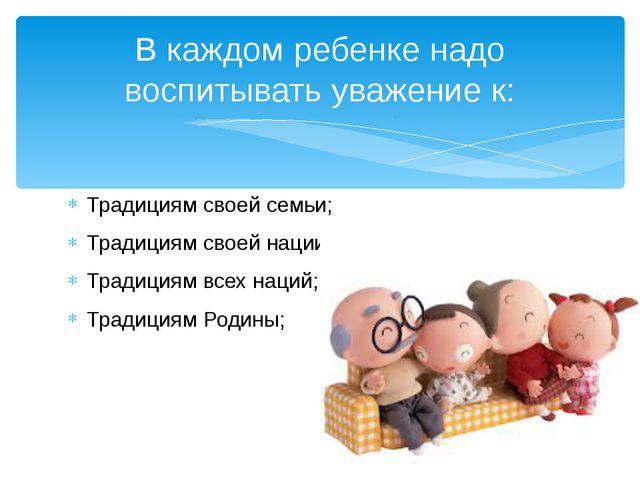 Традициям своей семьи; Традициям своей нации; Традициям всех наций; Традициям...