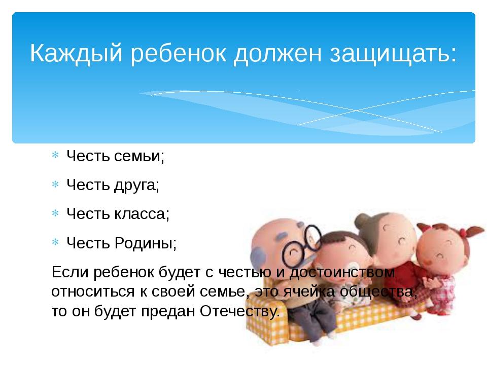 Честь семьи; Честь друга; Честь класса; Честь Родины; Если ребенок будет с че...