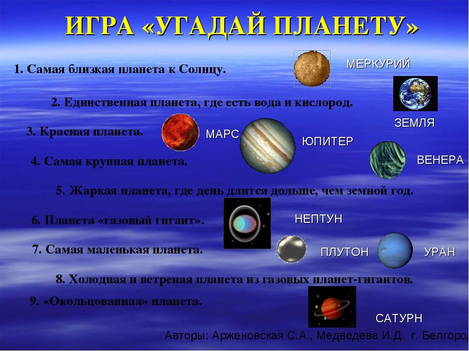 ИГРА «УГАДАЙ ПЛАНЕТУ» 1. Самая близкая планета к Солнцу. МЕРКУРИЙ 2. Единстве...